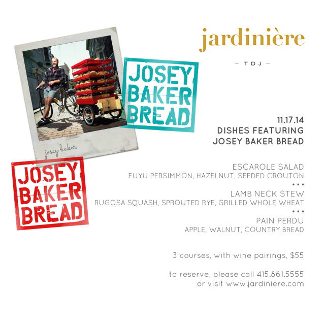 Josey Baker with Menu